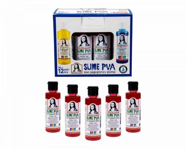Südor Sıvı Yapıştırıcı 70 ml Slime Mona Lisa Kırmızı 12 ADET
