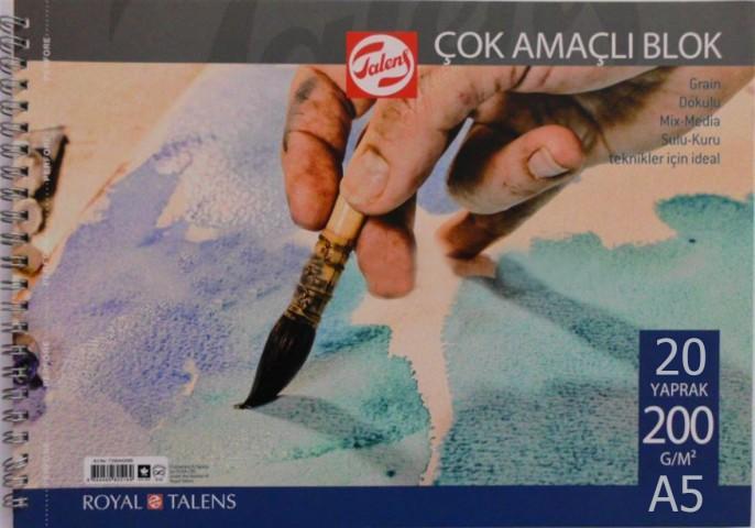 Talens Çok Amaçlı Blok Resim Çizim Defteri (A5) 200gr 20 Sayfa