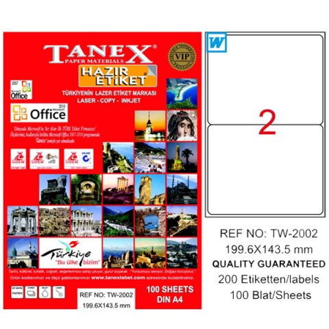 Tanex Lazer Etiket 100 YP 199.6x143.5 Laser-Copy-Inkjet TW-2002