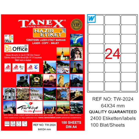 Tanex Lazer Etiket 100 YP 64x34 Laser-Copy-Inkjet TW-2024