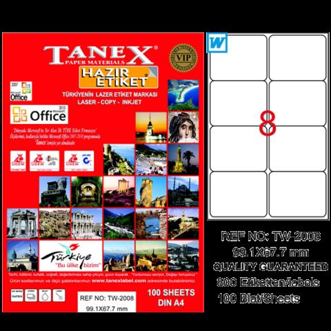 Tanex Lazer Etiket 100 YP 99.1x67.7 Laser-Copy-Inkjet TW-2008
