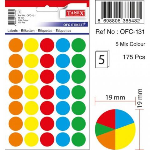Tanex Nokta Etiket 19 mm 5 Renk 175 Etiket OFC-131 Renkli
