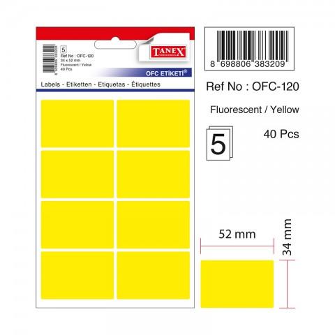 Tanex Ofc-120 Çıkartma Etiket Sarı