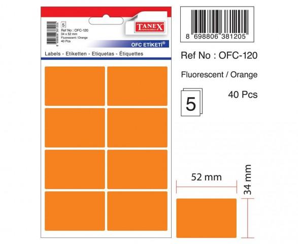 Tanex Ofc-120 Flo Kırmızı Ofis Etiketi