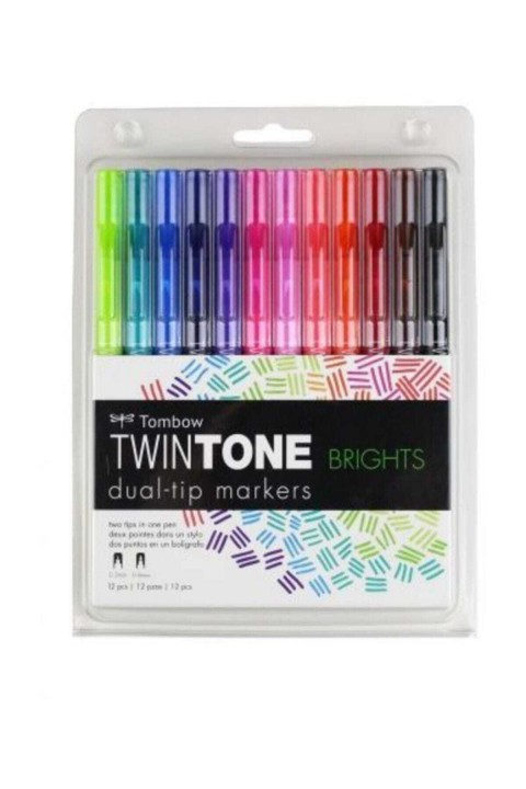 Tombow TwinTone Çift Uçlu Kalem 12`li Canlı Renkler