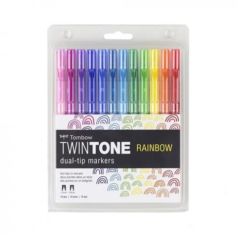 Tombow Twintone 12'li Rainbow Renkler Çift Uçlu Markör Seti