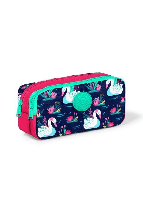 Yaygan Coral High Kids Neon Mercan Lacivert Kuğu Desenli Iki Bölmeli Kalem Çantası 22281